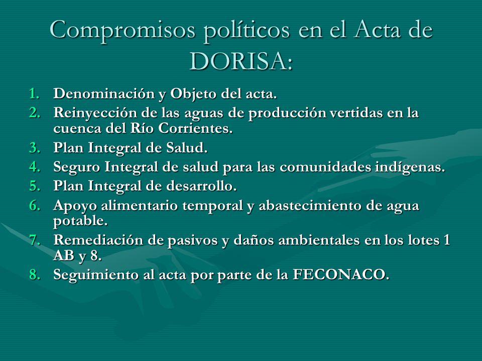 Compromisos políticos en el Acta de DORISA: 1.Denominación y Objeto del acta. 2.Reinyección de las aguas de producción vertidas en la cuenca del Río C