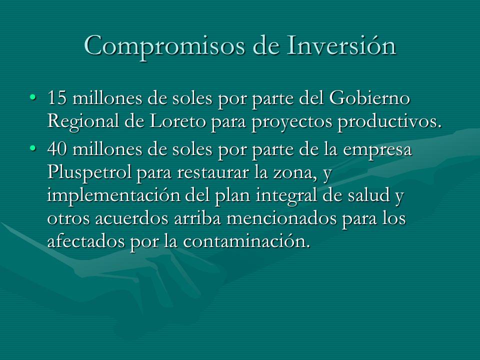 Compromisos de Inversión 15 millones de soles por parte del Gobierno Regional de Loreto para proyectos productivos.15 millones de soles por parte del
