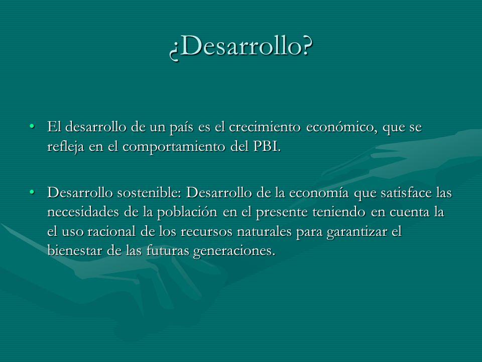 ¿Desarrollo? El desarrollo de un país es el crecimiento económico, que se refleja en el comportamiento del PBI.El desarrollo de un país es el crecimie