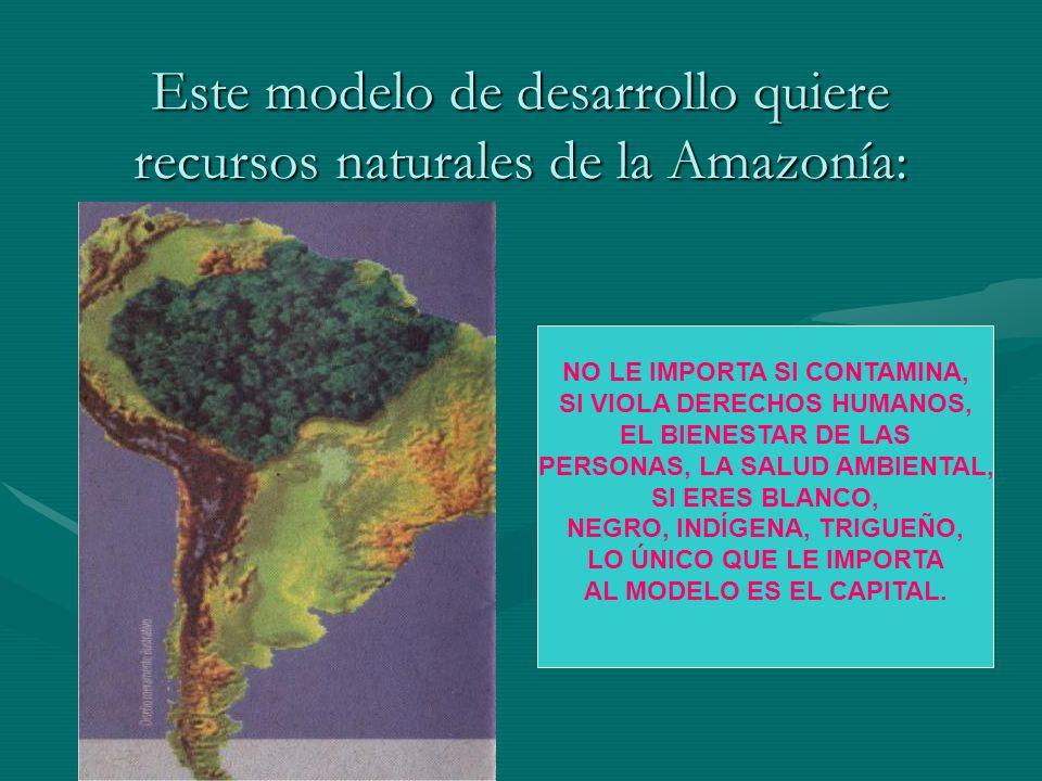 Este modelo de desarrollo quiere recursos naturales de la Amazonía: NO LE IMPORTA SI CONTAMINA, SI VIOLA DERECHOS HUMANOS, EL BIENESTAR DE LAS PERSONA