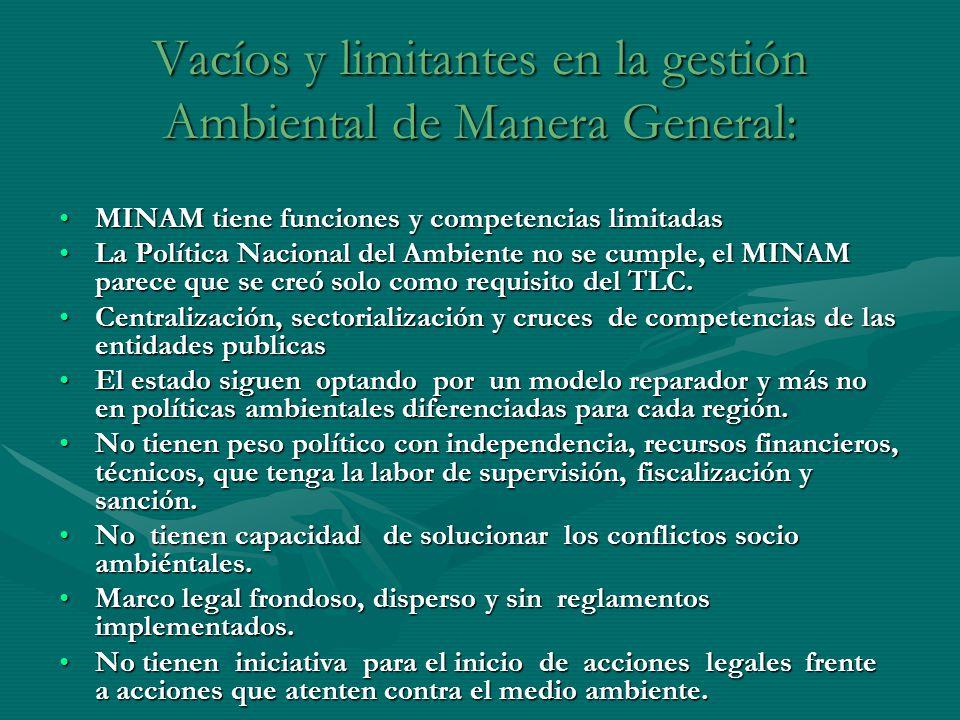 Vacíos y limitantes en la gestión Ambiental de Manera General: MINAM tiene funciones y competencias limitadasMINAM tiene funciones y competencias limi