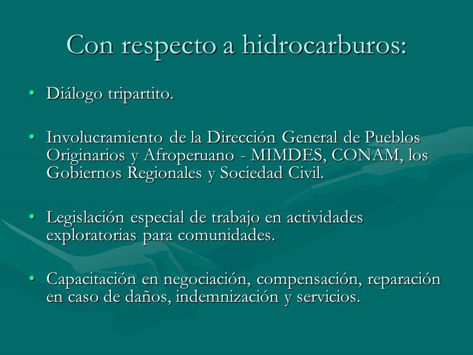Con respecto a hidrocarburos: Diálogo tripartito.Diálogo tripartito. Involucramiento de la Dirección General de Pueblos Originarios y Afroperuano - MI