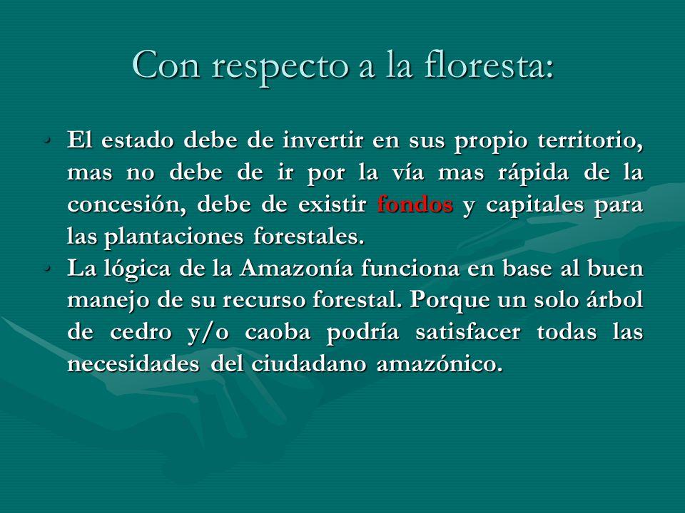 Con respecto a la floresta: El estado debe de invertir en sus propio territorio, mas no debe de ir por la vía mas rápida de la concesión, debe de exis