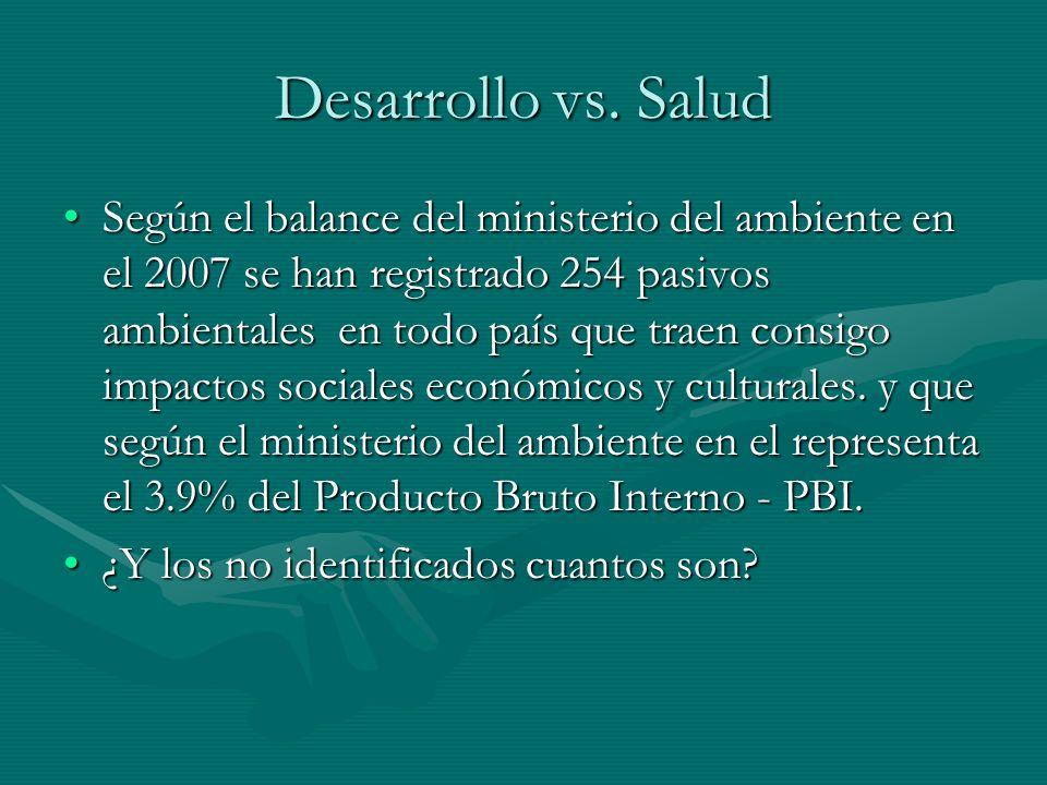 Desarrollo vs. Salud Según el balance del ministerio del ambiente en el 2007 se han registrado 254 pasivos ambientales en todo país que traen consigo