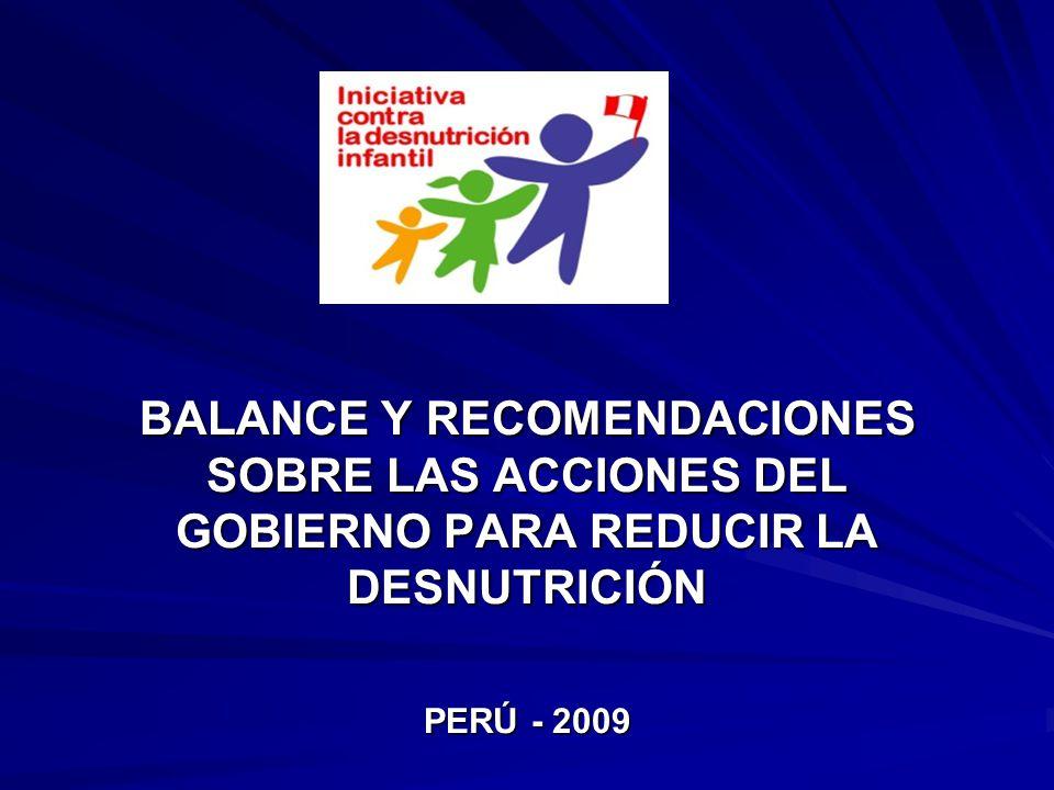 Instituciones que conforman la Iniciativa contra la Desnutrición ADRA Perú CARE Perú CÁRITAS del Perú Fondo de las Naciones Unidas para la Infancia (UNICEF) Fondo de Población de las Naciones Unidas (UNFPA) Futuras Generaciones Instituto de Investigación Nutricional Mesa de Concertación para la Lucha contra la Pobreza Organización de las Naciones Unidas para la Agricultura y Alimentación (FAO) Organización Panamericana de la Salud (OPS) PRISMA Programa Mundial de Alimentos USAID