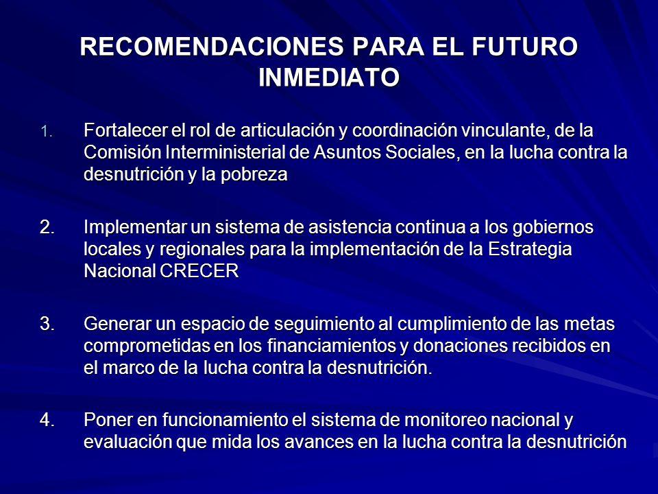 RECOMENDACIONES PARA EL FUTURO INMEDIATO 1. Fortalecer el rol de articulación y coordinación vinculante, de la Comisión Interministerial de Asuntos So