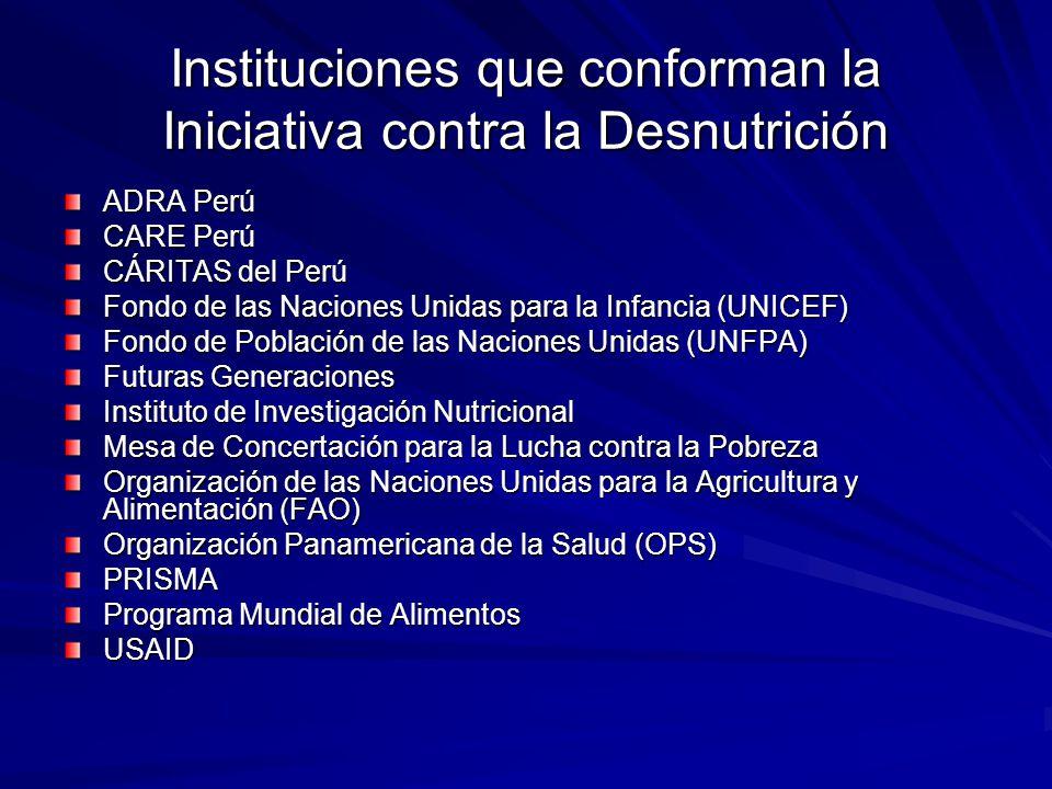 Instituciones que conforman la Iniciativa contra la Desnutrición ADRA Perú CARE Perú CÁRITAS del Perú Fondo de las Naciones Unidas para la Infancia (U
