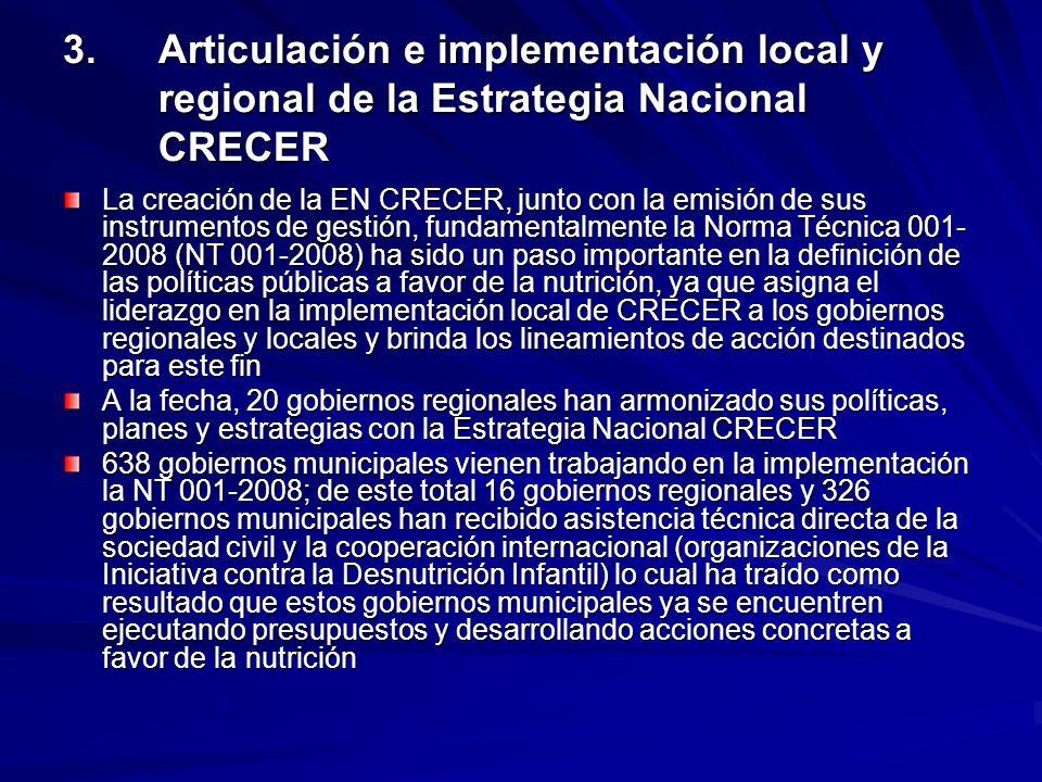 3.Articulación e implementación local y regional de la Estrategia Nacional CRECER La creación de la EN CRECER, junto con la emisión de sus instrumento