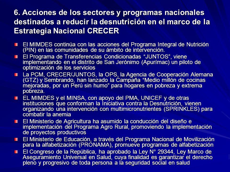 6. Acciones de los sectores y programas nacionales destinados a reducir la desnutrición en el marco de la Estrategia Nacional CRECER El MIMDES continú