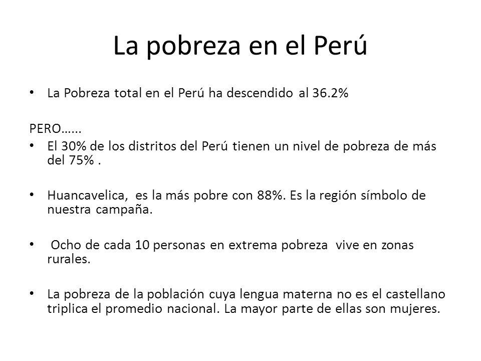 La pobreza en el Perú La Pobreza total en el Perú ha descendido al 36.2% PERO…... El 30% de los distritos del Perú tienen un nivel de pobreza de más d