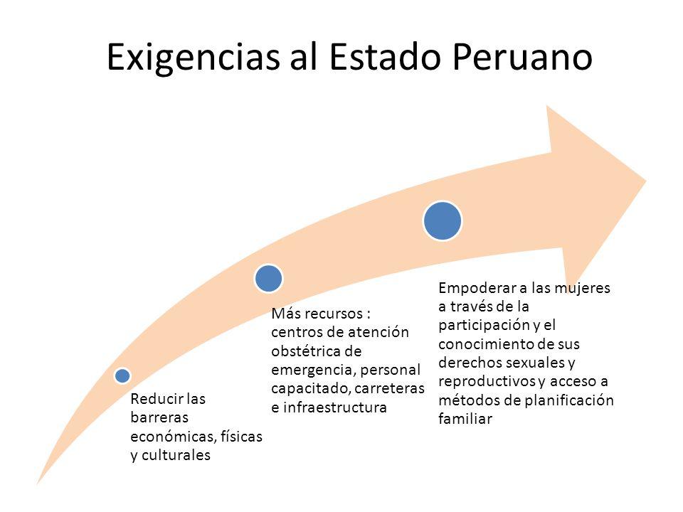 Reducir las barreras económicas, físicas y culturales Más recursos : centros de atención obstétrica de emergencia, personal capacitado, carreteras e infraestructura Empoderar a las mujeres a través de la participación y el conocimiento de sus derechos sexuales y reproductivos y acceso a métodos de planificación familiar Exigencias al Estado Peruano