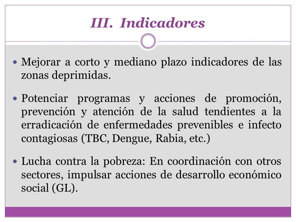 III. Indicadores Mejorar a corto y mediano plazo indicadores de las zonas deprimidas. Potenciar programas y acciones de promoción, prevención y atenci