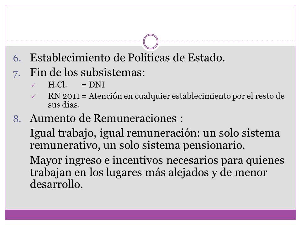 6. Establecimiento de Políticas de Estado. 7. Fin de los subsistemas: H.Cl. = DNI RN 2011 = Atención en cualquier establecimiento por el resto de sus