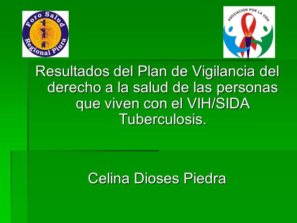 Resultados del Plan de Vigilancia del derecho a la salud de las personas que viven con el VIH/SIDA Tuberculosis. Celina Dioses Piedra