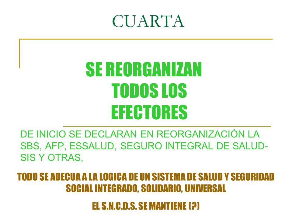 CUARTA DE INICIO SE DECLARAN EN REORGANIZACIÓN LA SBS, AFP, ESSALUD, SEGURO INTEGRAL DE SALUD- SIS Y OTRAS, SE REORGANIZAN TODOS LOS EFECTORES TODO SE ADECUA A LA LOGICA DE UN SISTEMA DE SALUD Y SEGURIDAD SOCIAL INTEGRADO, SOLIDARIO, UNIVERSAL EL S.N.C.D.S.