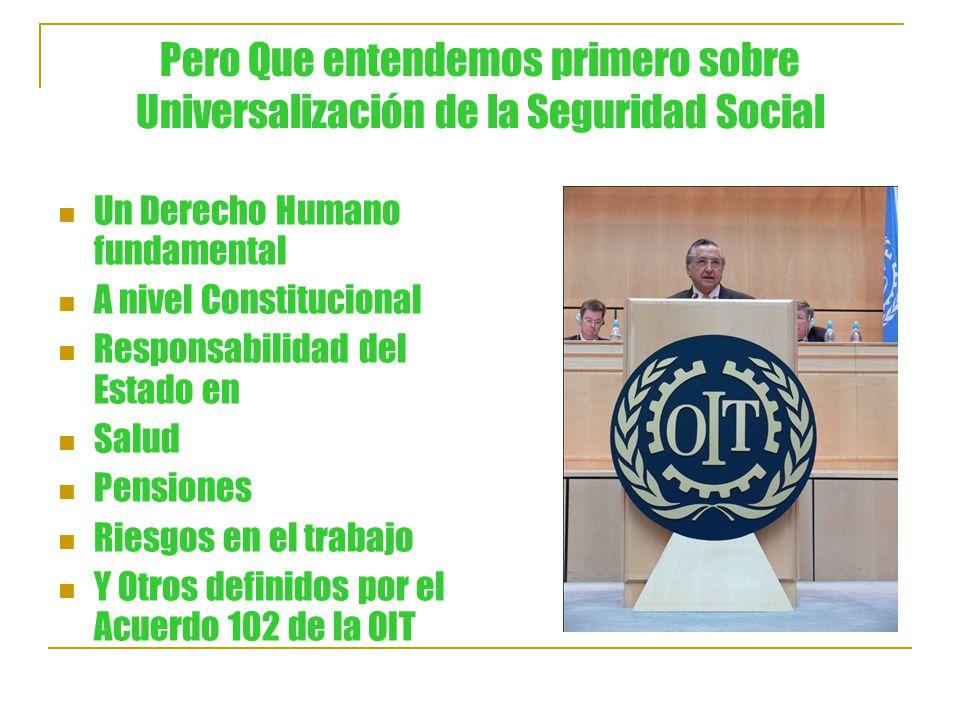 Pero Que entendemos primero sobre Universalización de la Seguridad Social Un Derecho Humano fundamental A nivel Constitucional Responsabilidad del Estado en Salud Pensiones Riesgos en el trabajo Y Otros definidos por el Acuerdo 102 de la OIT