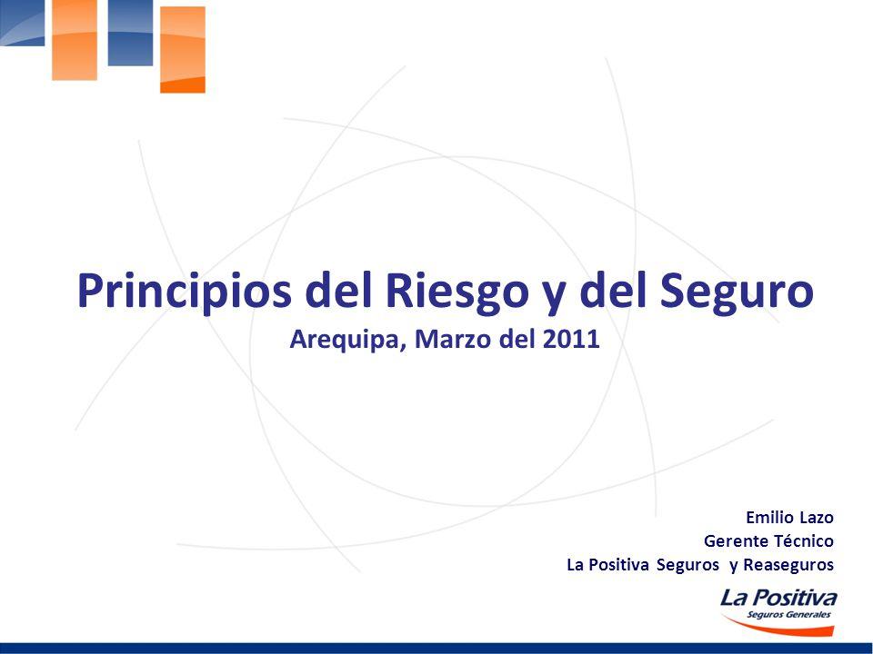 Principios del Riesgo y del Seguro Arequipa, Marzo del 2011 Emilio Lazo Gerente Técnico La Positiva Seguros y Reaseguros