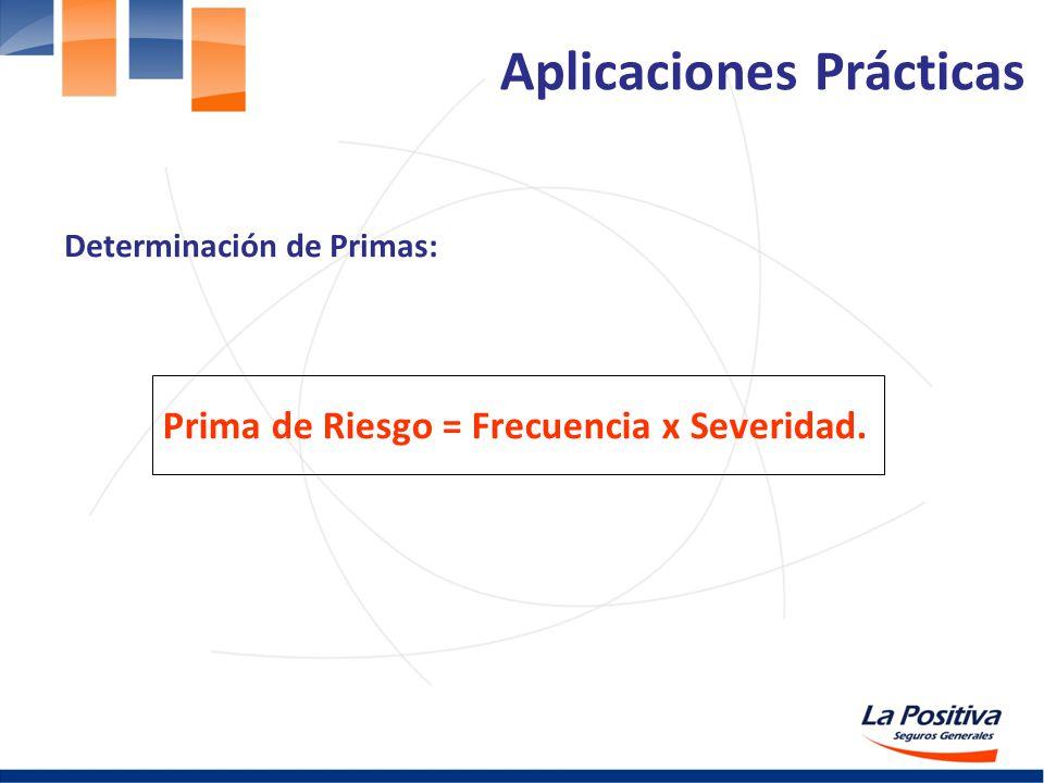 Determinación de Primas: Prima de Riesgo = Frecuencia x Severidad. Aplicaciones Prácticas