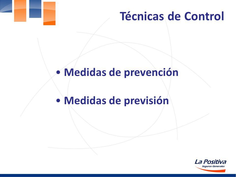 Medidas de prevención Medidas de previsión Técnicas de Control