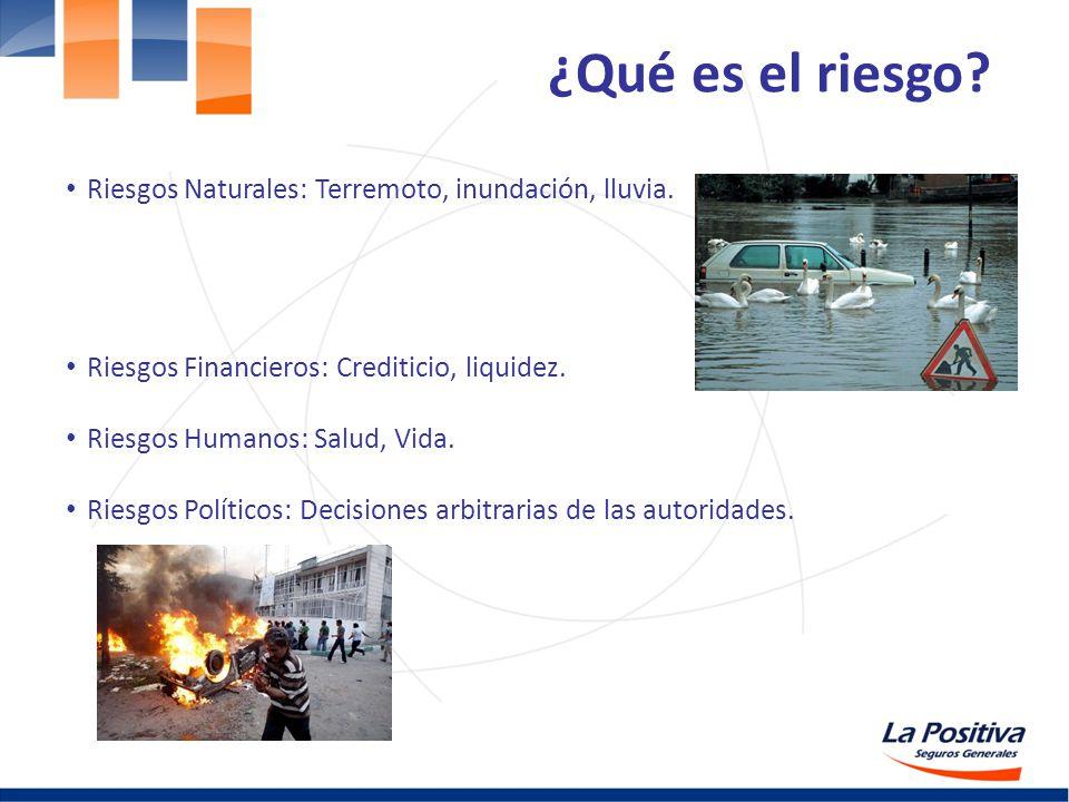 ¿Qué es el riesgo? Riesgos Naturales: Terremoto, inundación, lluvia. Riesgos Financieros: Crediticio, liquidez. Riesgos Humanos: Salud, Vida. Riesgos
