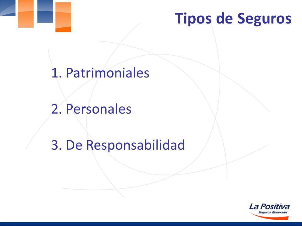 1. Patrimoniales 2. Personales 3. De Responsabilidad Tipos de Seguros