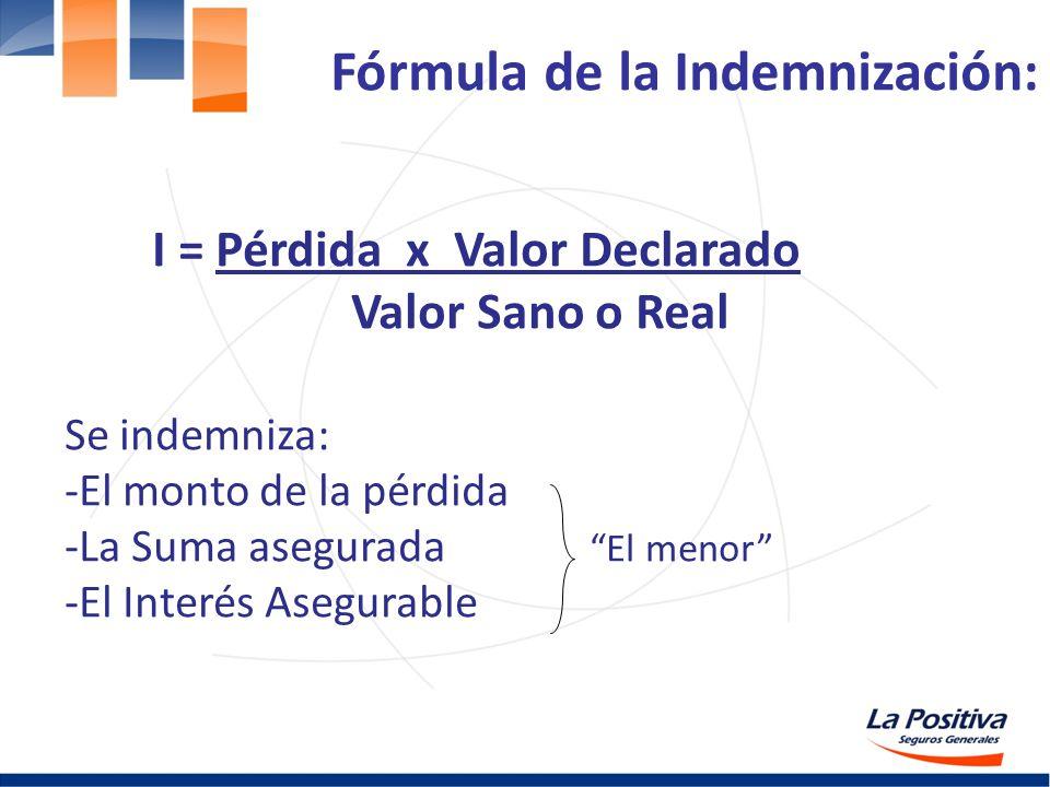Fórmula de la Indemnización: I = Pérdida x Valor Declarado Valor Sano o Real Se indemniza: -El monto de la pérdida -La Suma asegurada El menor -El Int