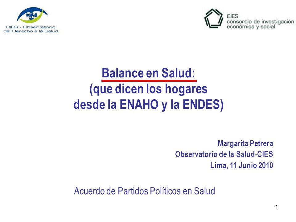 1 Balance en Salud: (que dicen los hogares desde la ENAHO y la ENDES) Margarita Petrera Observatorio de la Salud-CIES Lima, 11 Junio 2010 Acuerdo de Partidos Políticos en Salud