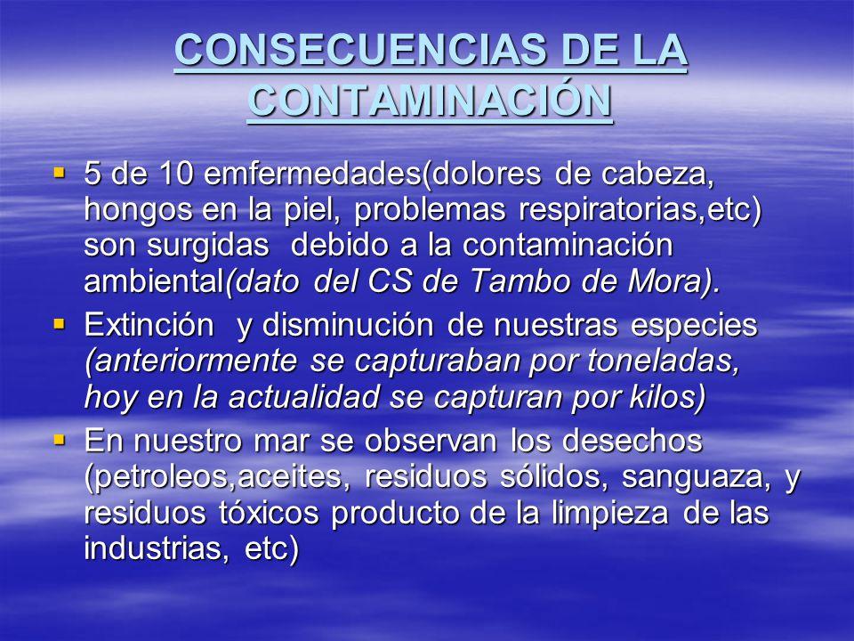 CONSECUENCIAS DE LA CONTAMINACIÓN 5 de 10 emfermedades(dolores de cabeza, hongos en la piel, problemas respiratorias,etc) son surgidas debido a la con