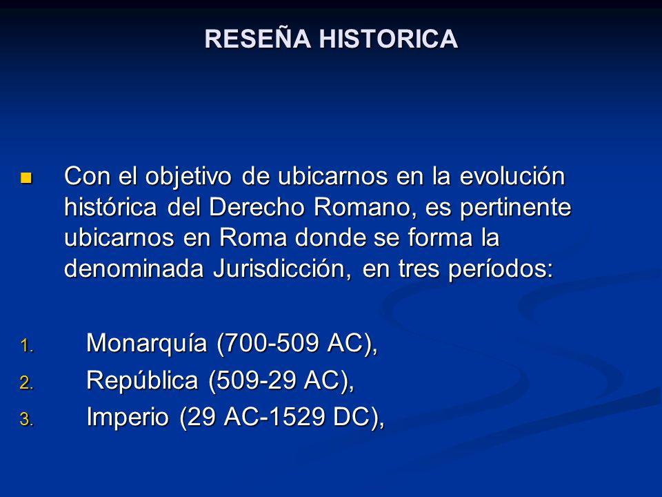 RESEÑA HISTORICA ETAPA DE LA MONARQUIA Quien tenía a su cargo el ejercicio de la justicia era el rey, tanto en lo civil como en lo criminal.