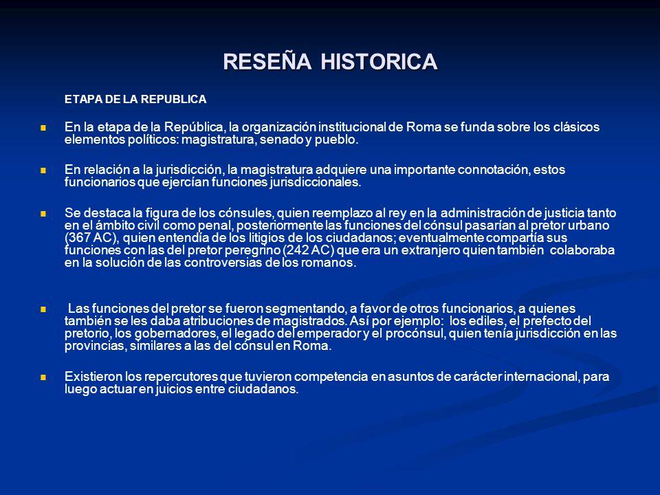 RESEÑA HISTORICA ETAPA DE LA REPUBLICA En la etapa de la República, la organización institucional de Roma se funda sobre los clásicos elementos políti