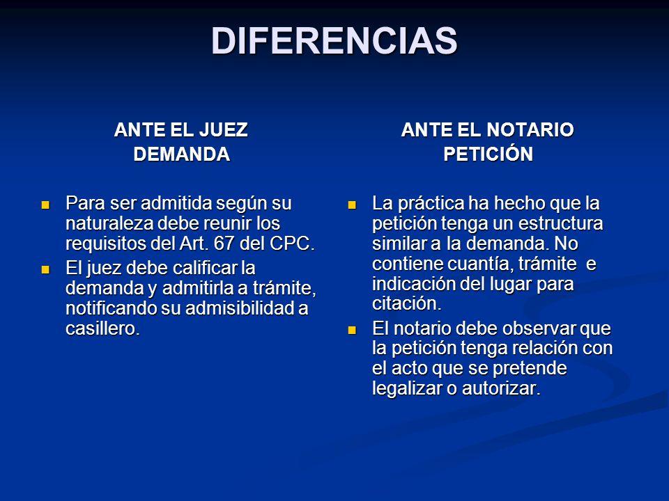 DIFERENCIAS ANTE EL JUEZ DEMANDA Para ser admitida según su naturaleza debe reunir los requisitos del Art. 67 del CPC. Para ser admitida según su natu