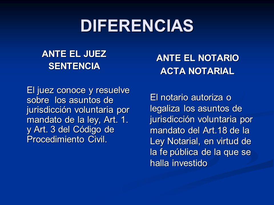 DIFERENCIAS ANTE EL JUEZ SENTENCIA El juez conoce y resuelve sobre los asuntos de jurisdicción voluntaria por mandato de la ley, Art. 1. y Art. 3 del
