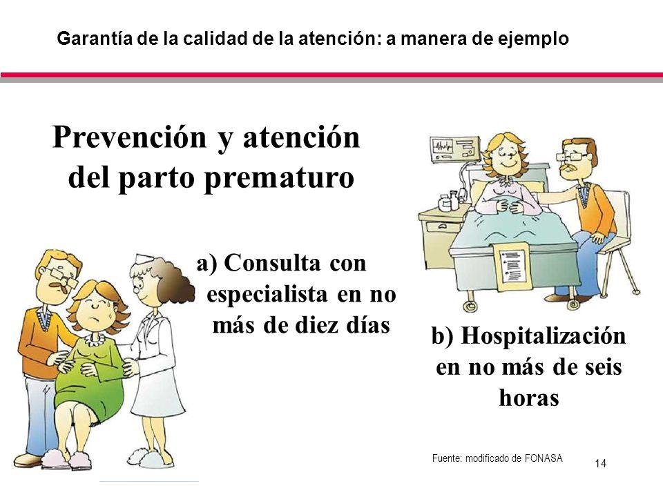 14 Garantía de la calidad de la atención: a manera de ejemplo Fuente: modificado de FONASA Prevención y atención del parto prematuro a) Consulta con especialista en no más de diez días b) Hospitalización en no más de seis horas