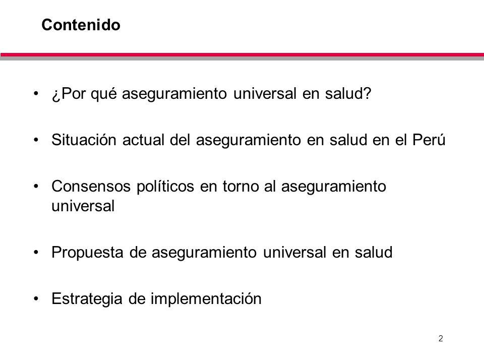 2 Contenido ¿Por qué aseguramiento universal en salud? Situación actual del aseguramiento en salud en el Perú Consensos políticos en torno al aseguram