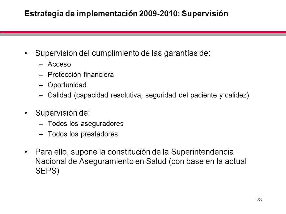 23 Estrategia de implementación 2009-2010: Supervisión Supervisión del cumplimiento de las garantías de : –Acceso –Protección financiera –Oportunidad