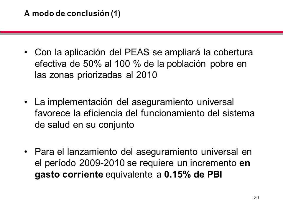 26 A modo de conclusión (1) Con la aplicación del PEAS se ampliará la cobertura efectiva de 50% al 100 % de la población pobre en las zonas priorizadas al 2010 La implementación del aseguramiento universal favorece la eficiencia del funcionamiento del sistema de salud en su conjunto Para el lanzamiento del aseguramiento universal en el período 2009-2010 se requiere un incremento en gasto corriente equivalente a 0.15% de PBI