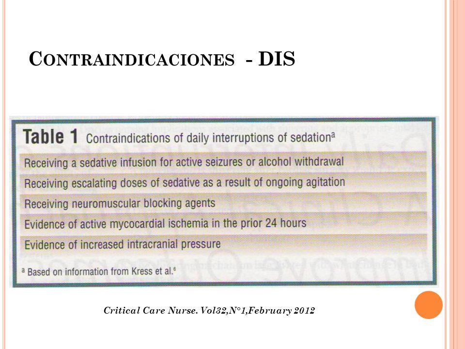 C ONTRAINDICACIONES - DIS Critical Care Nurse. Vol32,N°1,February 2012