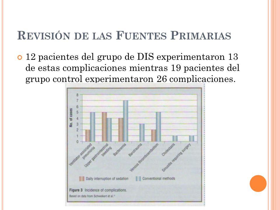 R EVISIÓN DE LAS F UENTES P RIMARIAS 12 pacientes del grupo de DIS experimentaron 13 de estas complicaciones mientras 19 pacientes del grupo control experimentaron 26 complicaciones.