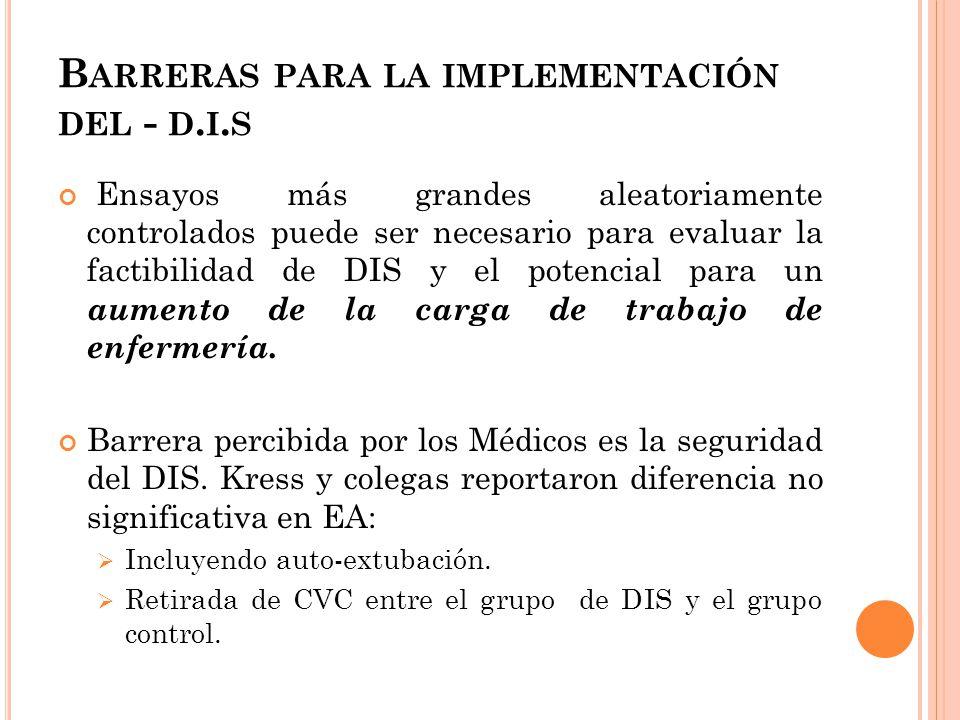 B ARRERAS PARA LA IMPLEMENTACIÓN DEL - D.I.