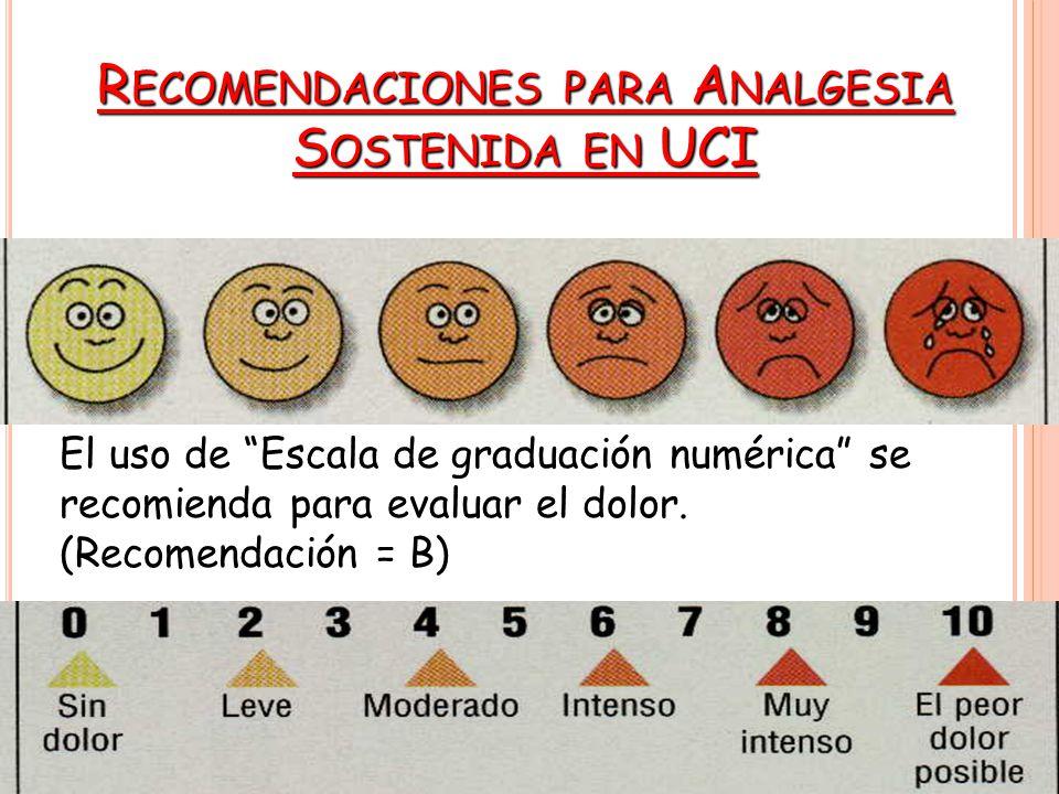 El uso de Escala de graduación numérica se recomienda para evaluar el dolor.