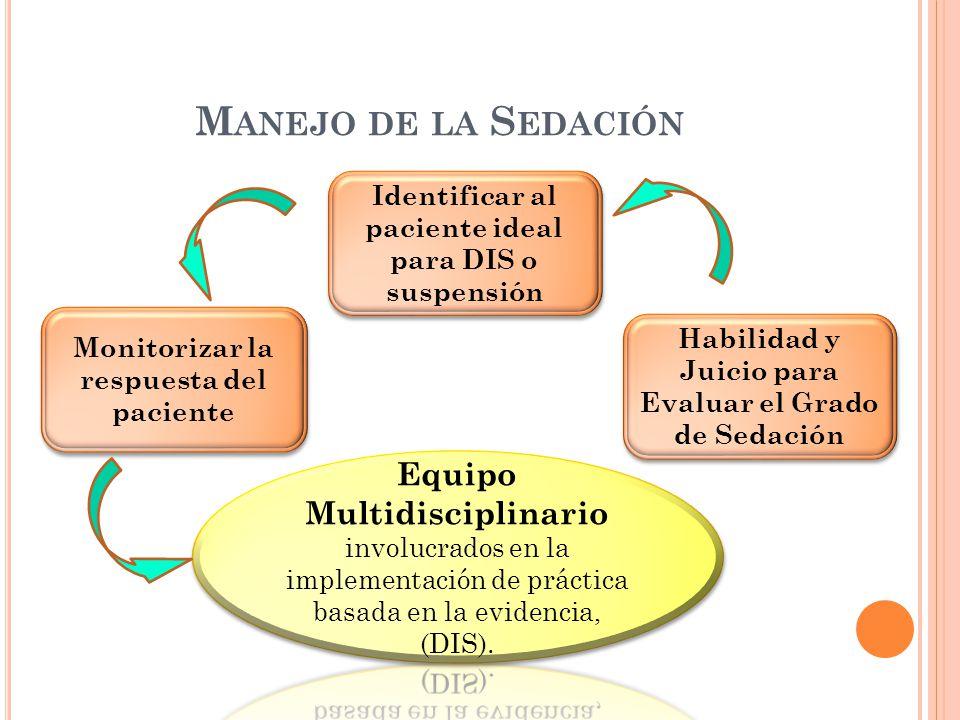 M ANEJO DE LA S EDACIÓN Identificar al paciente ideal para DIS o suspensión Habilidad y Juicio para Evaluar el Grado de Sedación Monitorizar la respuesta del paciente