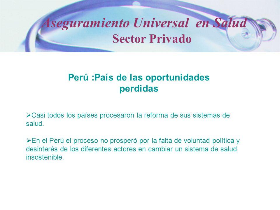 Perú :País de las oportunidades perdidas Casi todos los países procesaron la reforma de sus sistemas de salud. En el Perú el proceso no prosperó por l