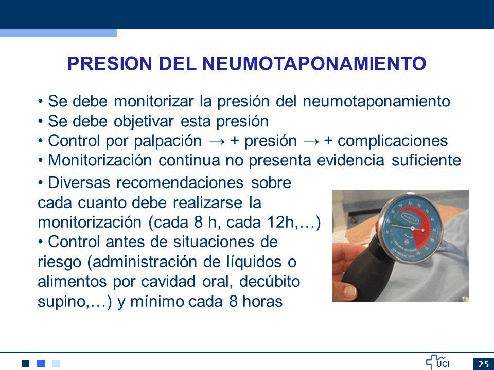 UCI 25 PRESION DEL NEUMOTAPONAMIENTO Se debe monitorizar la presión del neumotaponamiento Se debe objetivar esta presión Control por palpación + presi