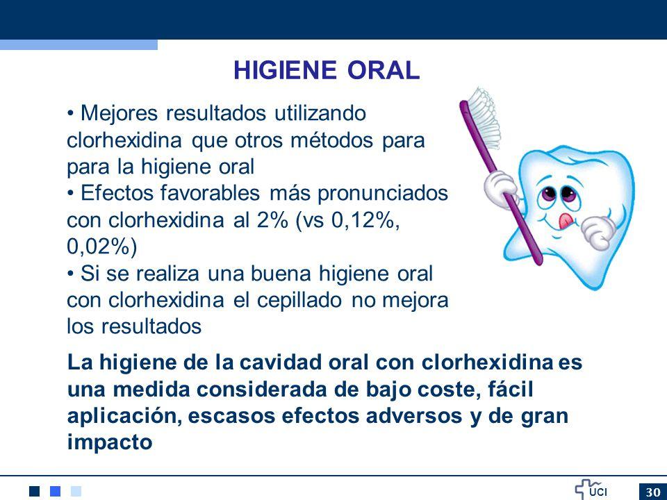 UCI 30 HIGIENE ORAL Mejores resultados utilizando clorhexidina que otros métodos para para la higiene oral Efectos favorables más pronunciados con clo
