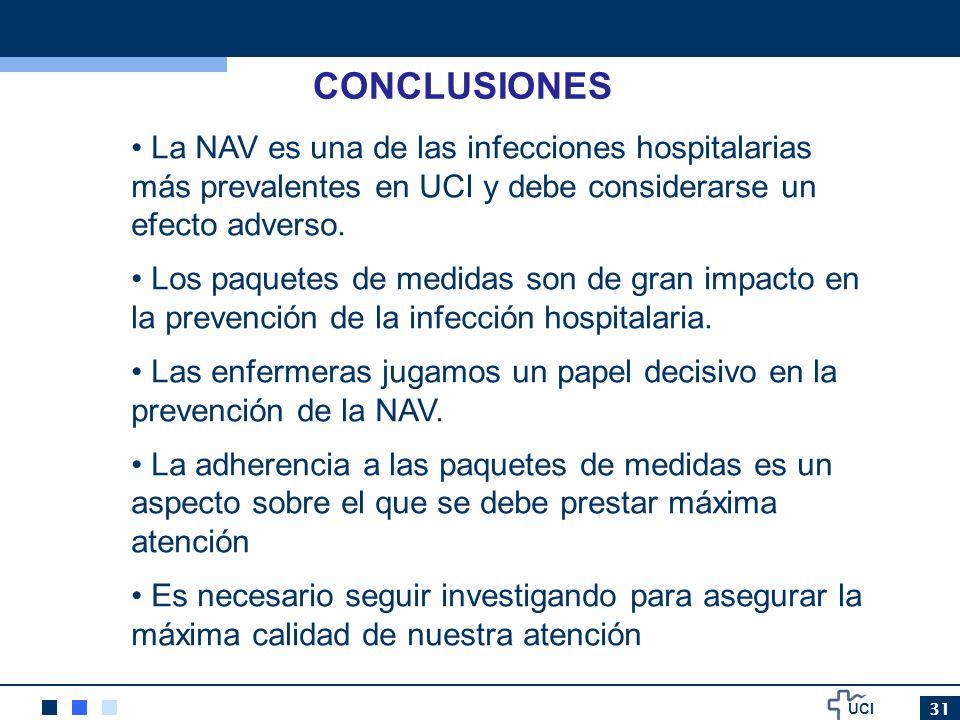 UCI 31 CONCLUSIONES La NAV es una de las infecciones hospitalarias más prevalentes en UCI y debe considerarse un efecto adverso. Los paquetes de medid