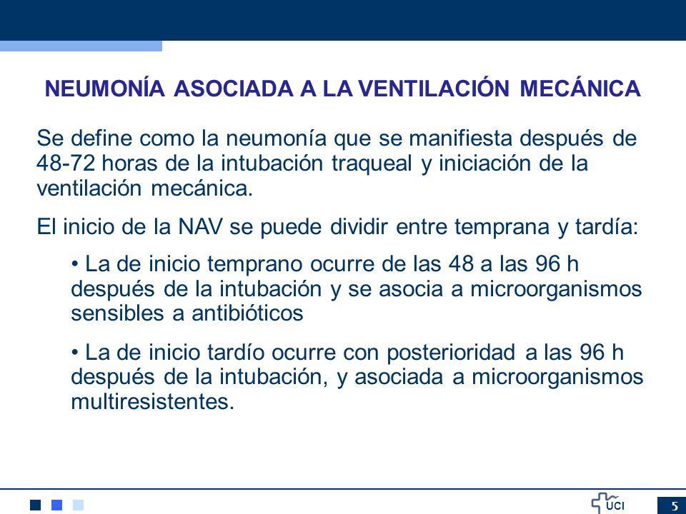UCI 26 ASPIRACION SUBGLOTICA Todas las guías la recomiendan en pacientes intubados más de 48 horas Reduce días VM, días estancia en UCI, reduce la NAV (en especial la precoz), el consumo de antibióticos y retrasa la aparición de NAV Poca implementación Puede presentar complicaciones como lesiones de la mucosa traqueal relacionadas con la presión de la aspiración Controversia en como debe realizarse