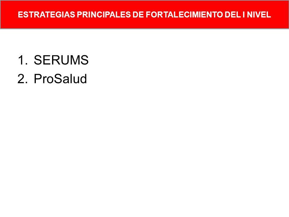 1.SERUMS 2.ProSalud ESTRATEGIAS PRINCIPALES DE FORTALECIMIENTO DEL I NIVEL