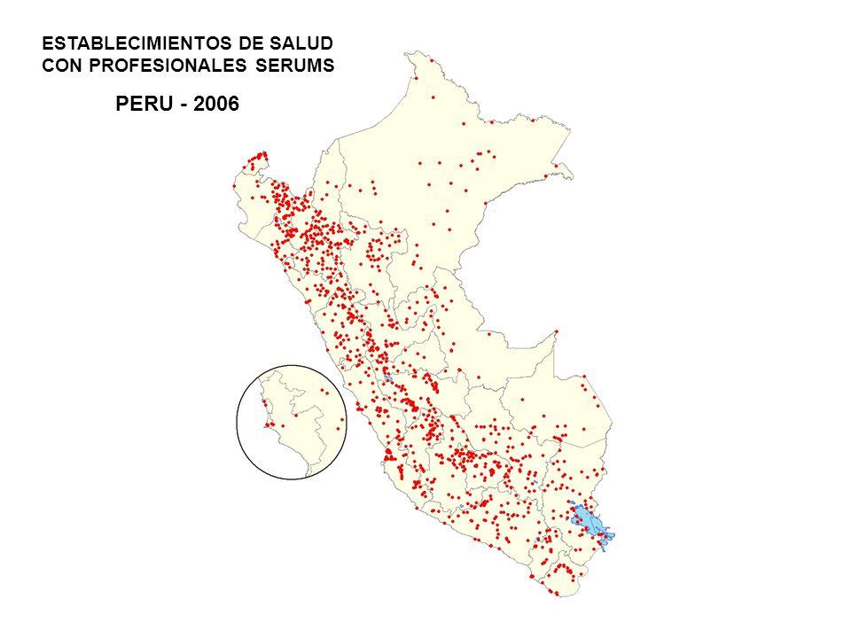 PERU - 2006 ESTABLECIMIENTOS DE SALUD CON PROFESIONALES SERUMS