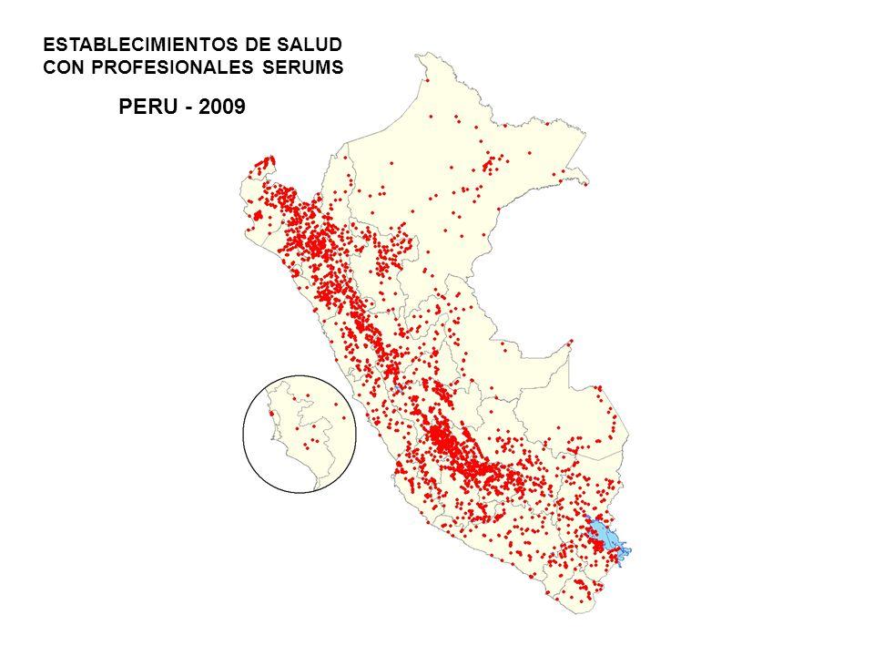 PERU - 2009 ESTABLECIMIENTOS DE SALUD CON PROFESIONALES SERUMS