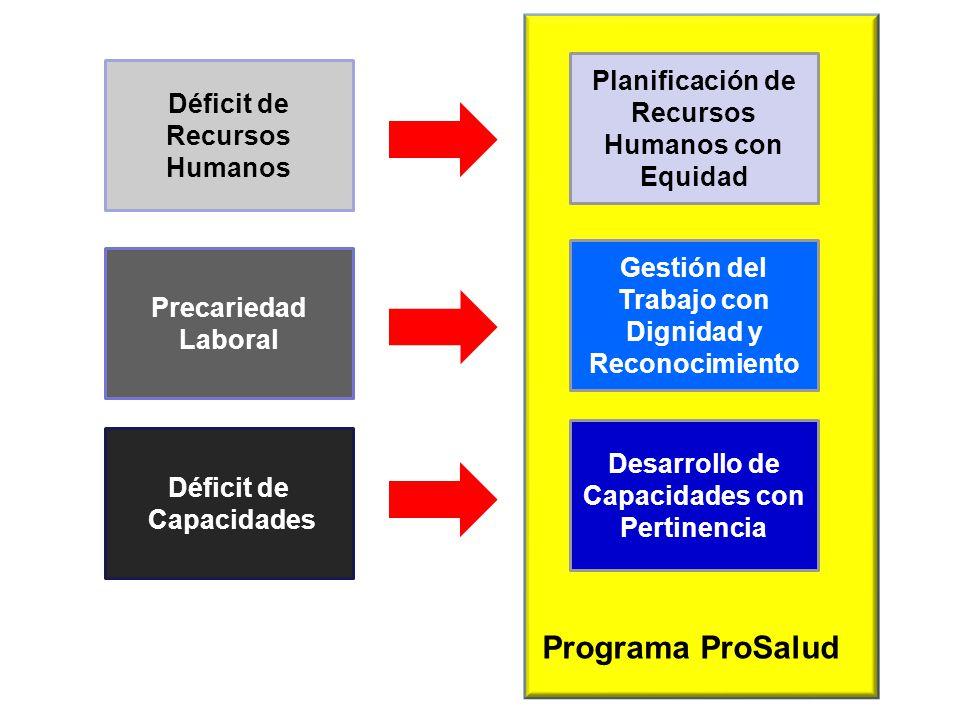 Programa ProSalud Déficit de Recursos Humanos Planificación de Recursos Humanos con Equidad Precariedad Laboral Gestión del Trabajo con Dignidad y Rec
